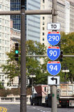 Interstate signs in city center. Stock Photography