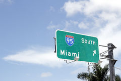 Interstate 95 South to Miami Sign Stock Photography