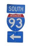 interstate tecken 93 fotografering för bildbyråer