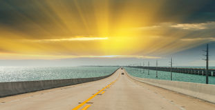 Interstate to the Keys, Florida. Road across the ocean Stock Image