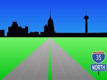 Interstate to San Antonio. Interstate 35 leading to San Antonio skyline Royalty Free Stock Images
