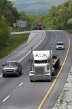 Interstate Traffic With Big Trucks Stock Photography