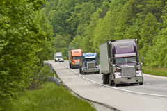 Interstate Traffic With Trucks Royalty Free Stock Photo