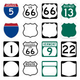 Interstate and US Route signs vector illustration