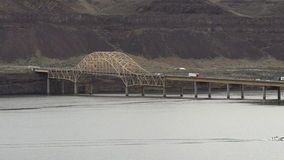 Interstate 90 Vantage Bridge Crossing Columbia River Waters Eastern Washington. This Parker Type through truss bridge carries traffic over the Columbia River stock video