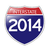 Interstate 2014. A whimsical Interstate 2014 sign with a bit of a reflection in the upper left Royalty Free Stock Image