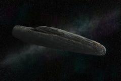 """Interstellair voorwerp 1I/Ê"""" Oumuamua, speculatief beeld vector illustratie"""