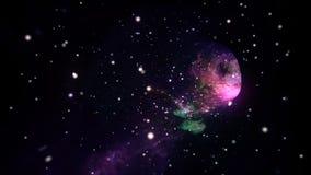 Interstellaire reis in hyperspace wormhole portaal met sterren naadloze lijn vector illustratie