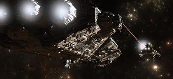 Interstellar Battleship Chase Stock Photos