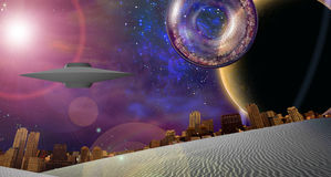 Interstellar city ship near ringed planet Stock Image