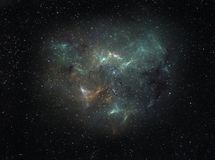 Interstellar cloud. Nebula with intricate shape looming deep in space Stock Images