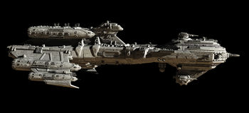 Interstellar Escort Frigate - side view Royalty Free Stock Image