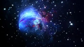 Interstellar lightspeed space travel in hyperspace wormhole portal with stars vector illustration