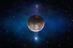 Interstellar scene with red planet, nebula and stars in space Royalty Free Stock Image
