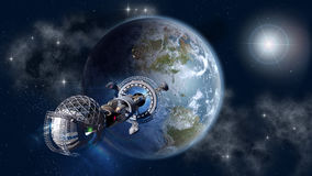 Interstellar spaceship leaving Earth Stock Photos