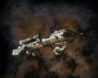 Interstellare Geleitschutz-Fregatte und Nebelfleck Stockfotos