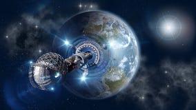 Interstellare Wormholereise Stockbild