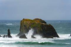 Intertidal Rotsen door het overzees worden omringd die stock fotografie
