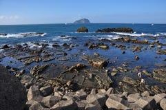 Intertidal strefa Badouzi, Keelung miasto, Tajwan Zdjęcie Stock