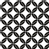 Intertwine circles seamless pattern, black and white vector background. Royalty Free Stock Photos