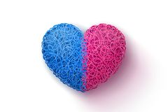 Intertwined blue-and-pink heart Royalty Free Stock Images