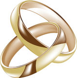 Intertwined gold wedding rings. At white background Royalty Free Stock Photos