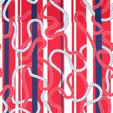 Intertwining Red and Blue Nautical Ropes and Stripes Vector Seamless Pattern. Tangled Cords Marine Background royalty free illustration