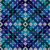 Intertwining seamless knitted pattern in cool hues Royalty Free Stock Images
