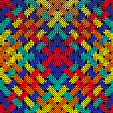 Intertwining seamless knitted pattern in vivid colors Stock Images