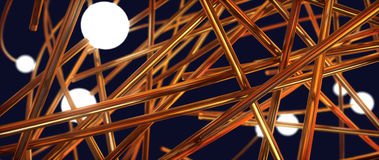 Intertwining wire and glowing balls. Abstract illustration Stock Photography