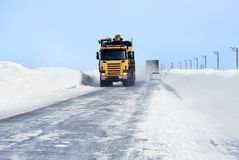 Interurban road of the Russian Far North Stock Image