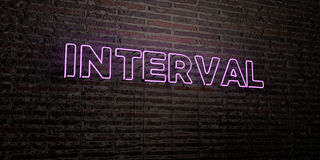 INTERVAL -Realistic Neon Sign on Brick Wall background - 3D rendered royalty free stock image Stock Images