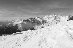 Intervallo di alta montagna in bianco e nero Immagine Stock Libera da Diritti