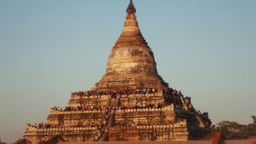 Intervallo di Bagan Temple Sunset People Time video d archivio
