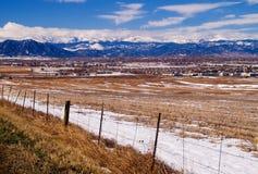 Intervallo di fronte di Colorado Montagne Rocciose in inverno Fotografie Stock Libere da Diritti