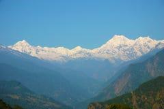 Intervallo di montagna innevato, Sikkim, Himalayans Fotografie Stock