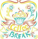 Intervallo per il caffè Il tiraggio agglutina a mano, bordo motivazionale del manifesto Immagine Stock Libera da Diritti