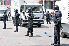 Intervenção da polícia, Barcelona, Spain Imagens de Stock