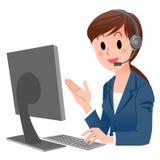 Intervenant du service client dans l'écouteur Images libres de droits