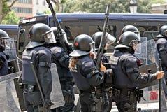 Intervención de la policía, Barcelona, España Foto de archivo libre de regalías