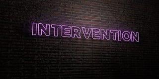 INTERVENTION - enseigne au néon réaliste sur le fond de mur de briques - image courante gratuite de redevance rendue par 3D illustration stock