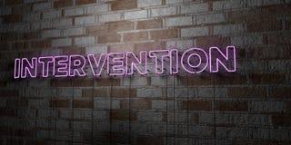 INTERVENTION - Enseigne au néon rougeoyant sur le mur de maçonnerie - 3D a rendu l'illustration courante gratuite de redevance illustration libre de droits
