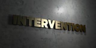 Intervention - texte d'or sur le fond noir - photo courante gratuite de redevance rendue par 3D illustration de vecteur