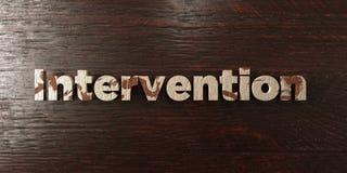 Intervention - titre en bois sale sur l'érable - image courante gratuite de redevance rendue par 3D illustration libre de droits