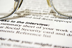 Interview. Close up of Job application- interview Stock Photography