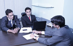 Interview. A candidate is appearing in an interview Stock Images