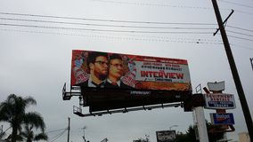 The Interview Billboard. The Movie that North Korean shut down stock photos