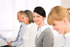 Interview business people young woman smiling Royalty Free Stock Image