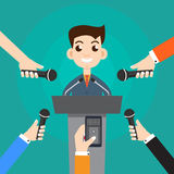 Interview a businessman or politician answering questions vector. Illustration - stock vector royalty free illustration