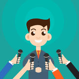 Interview a businessman or politician answering questions. Vector illustration - stock vector royalty free illustration